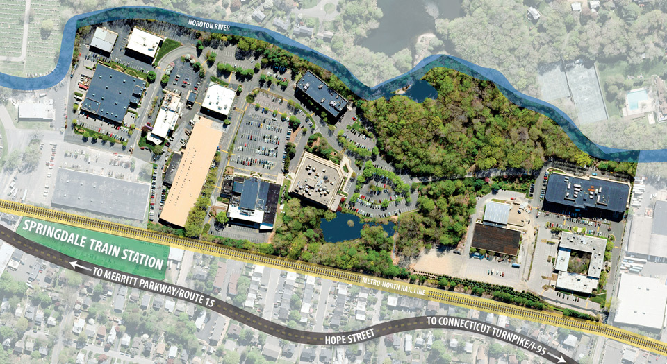 A large map of River Bend Center's 40 acre business park campus in Stamford, CT.